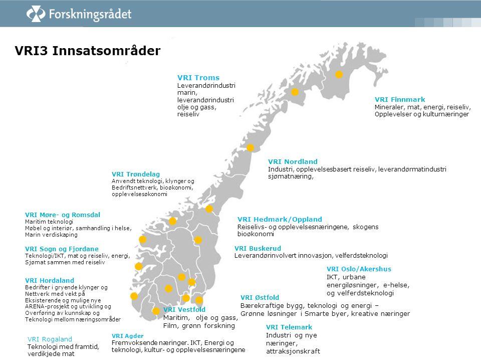 VRI3 Innsatsområder VRI Møre- og Romsdal Maritim teknologi Møbel og interiør, samhandling i helse, Marin verdiskaping VRI Trøndelag Anvendt teknologi, klynger og Bedriftsnettverk, bioøkonomi, opplevelsesøkonomi VRI Nordland Industri, opplevelsesbasert reiseliv, leverandørmatindustri sjømatnæring, VRI Østfold Bærekraftige bygg, teknologi og energi – Grønne løsninger i Smarte byer, kreative næringer VRI Telemark Industri og nye næringer, attraksjonskraft VRI Vestfold Maritim, olje og gass, Film, grønn forskning VRI Buskerud Leverandørinvolvert innovasjon, velferdsteknologi VRI Agder Fremvoksende næringer.