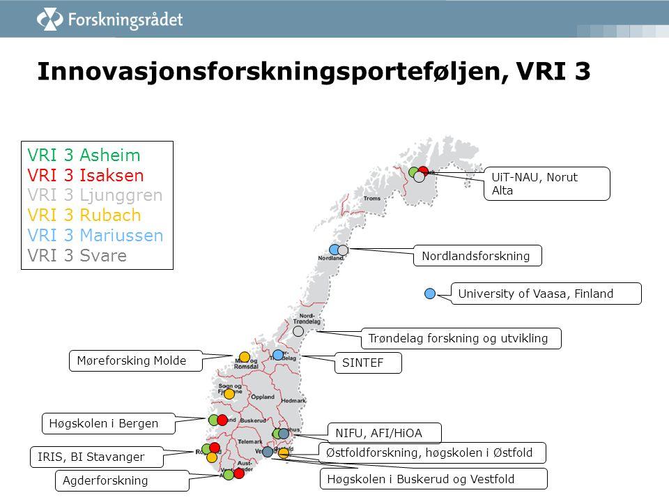 Innovasjonsforskningsprosjektene i VRI 3 - forskningsspørsmålene  Isaksen/Agderforskning: Hva skaper næringsutvikling i regioner med ulike forutsetninger, og hvordan kan politikk stimulere utviklingen.