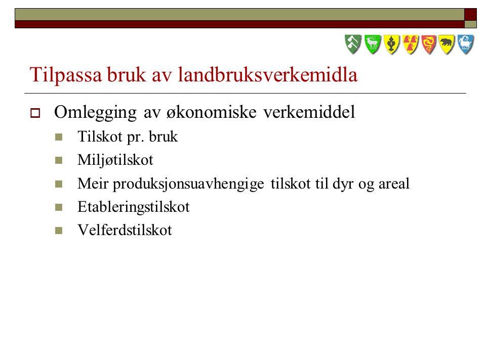Tilpassa bruk av landbruksverkemidla  Omlegging av økonomiske verkemiddel Tilskot pr.