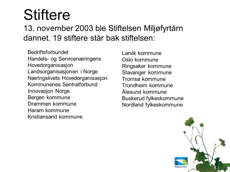 Stiftere 13. november 2003 ble Stiftelsen Miljøfyrtårn dannet.