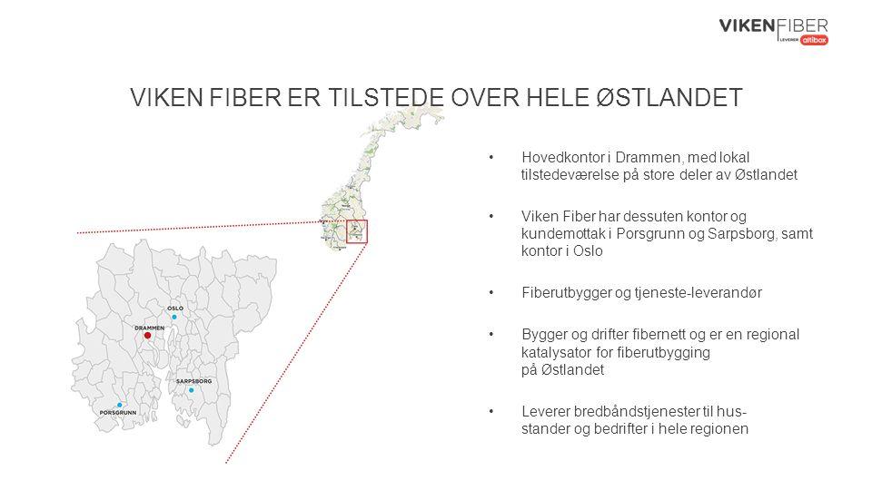 VIKEN FIBER ER TILSTEDE OVER HELE ØSTLANDET Hovedkontor i Drammen, med lokal tilstedeværelse på store deler av Østlandet Viken Fiber har dessuten kontor og kundemottak i Porsgrunn og Sarpsborg, samt kontor i Oslo Fiberutbygger og tjeneste-leverandør Bygger og drifter fibernett og er en regional katalysator for fiberutbygging på Østlandet Leverer bredbåndstjenester til hus- stander og bedrifter i hele regionen