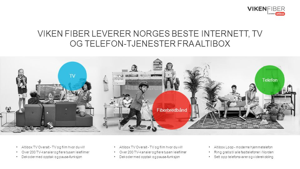 VIKEN FIBER LEVERER NORGES BESTE INTERNETT, TV OG TELEFON-TJENESTER FRA ALTIBOX Altibox TV Overalt - TV og film hvor du vil.