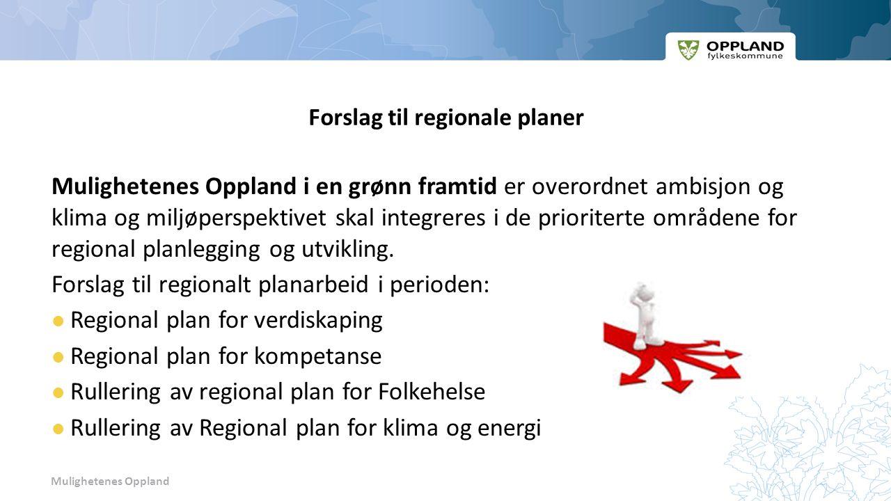 Mulighetenes Oppland Forslag til regionale planer Mulighetenes Oppland i en grønn framtid er overordnet ambisjon og klima og miljøperspektivet skal integreres i de prioriterte områdene for regional planlegging og utvikling.