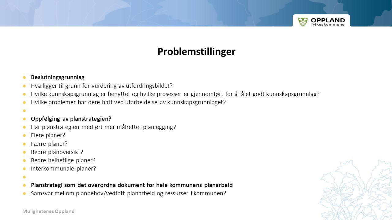 Mulighetenes Oppland Problemstillinger Beslutningsgrunnlag Hva ligger til grunn for vurdering av utfordringsbildet.
