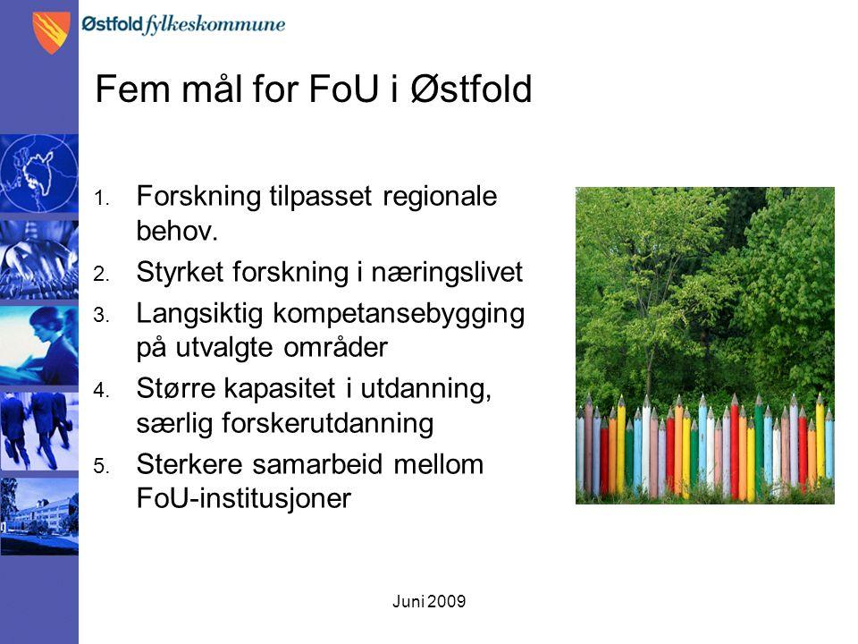 Juni 2009 Fem mål for FoU i Østfold 1. Forskning tilpasset regionale behov. 2. Styrket forskning i næringslivet 3. Langsiktig kompetansebygging på utv