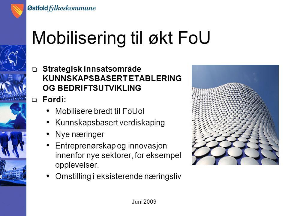 Juni 2009 Mobilisering til økt FoU  Strategisk innsatsområde KUNNSKAPSBASERT ETABLERING OG BEDRIFTSUTVIKLING  Fordi: Mobilisere bredt til FoUoI Kunnskapsbasert verdiskaping Nye næringer Entreprenørskap og innovasjon innenfor nye sektorer, for eksempel opplevelser.