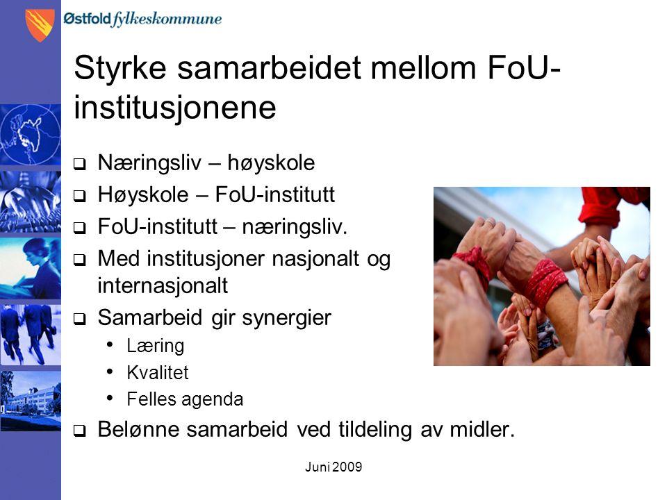 Juni 2009 Styrke samarbeidet mellom FoU- institusjonene  Næringsliv – høyskole  Høyskole – FoU-institutt  FoU-institutt – næringsliv.  Med institu
