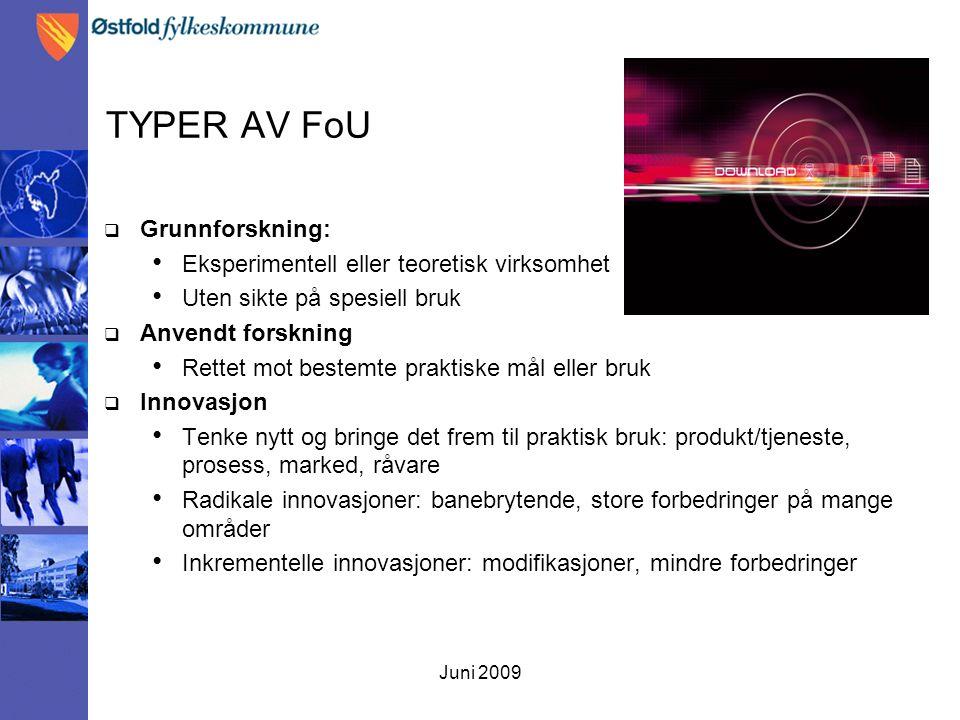 Juni 2009 TYPER AV FoU  Grunnforskning: Eksperimentell eller teoretisk virksomhet Uten sikte på spesiell bruk  Anvendt forskning Rettet mot bestemte