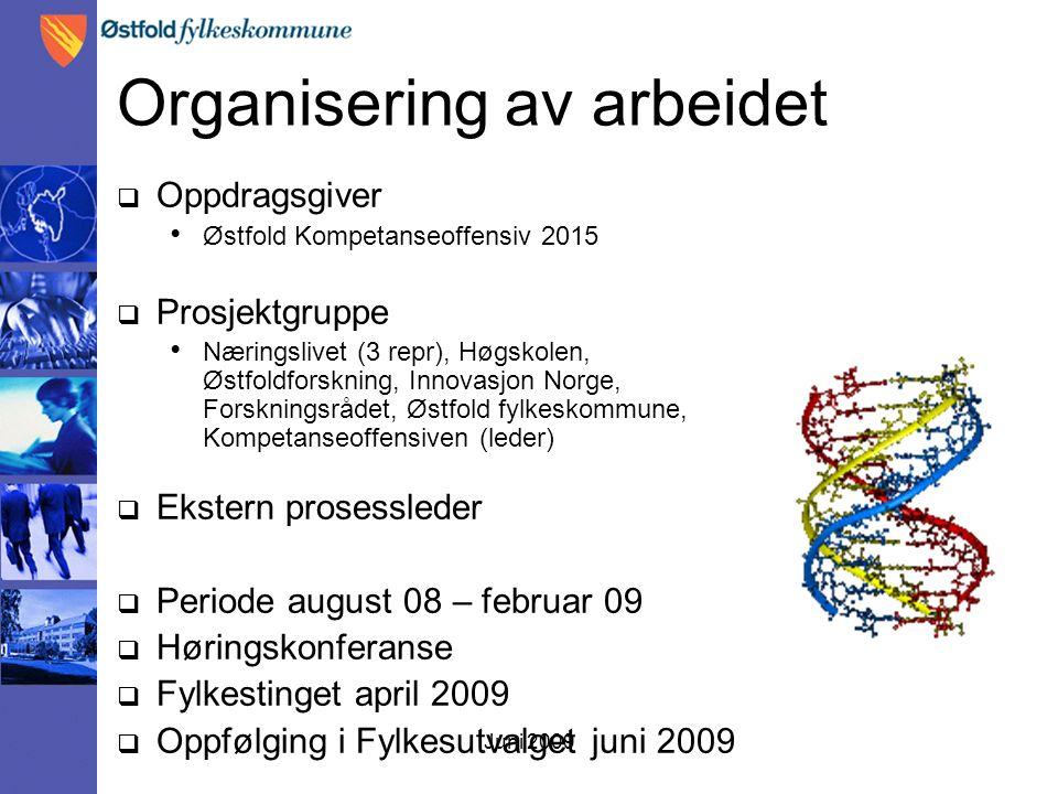 Juni 2009 Organisering av arbeidet  Oppdragsgiver Østfold Kompetanseoffensiv 2015  Prosjektgruppe Næringslivet (3 repr), Høgskolen, Østfoldforskning