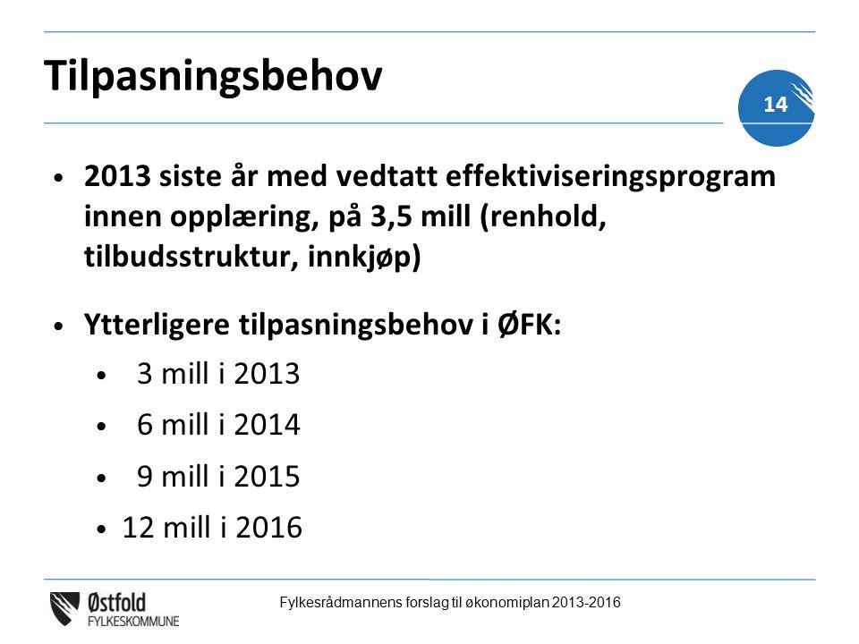 Tilpasningsbehov 2013 siste år med vedtatt effektiviseringsprogram innen opplæring, på 3,5 mill (renhold, tilbudsstruktur, innkjøp) Ytterligere tilpasningsbehov i ØFK: 3 mill i 2013 6 mill i 2014 9 mill i 2015 12 mill i 2016 Fylkesrådmannens forslag til økonomiplan 2013-2016 14