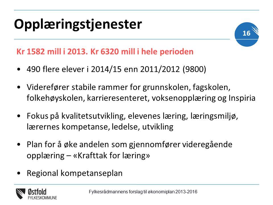 Opplæringstjenester Kr 1582 mill i 2013.