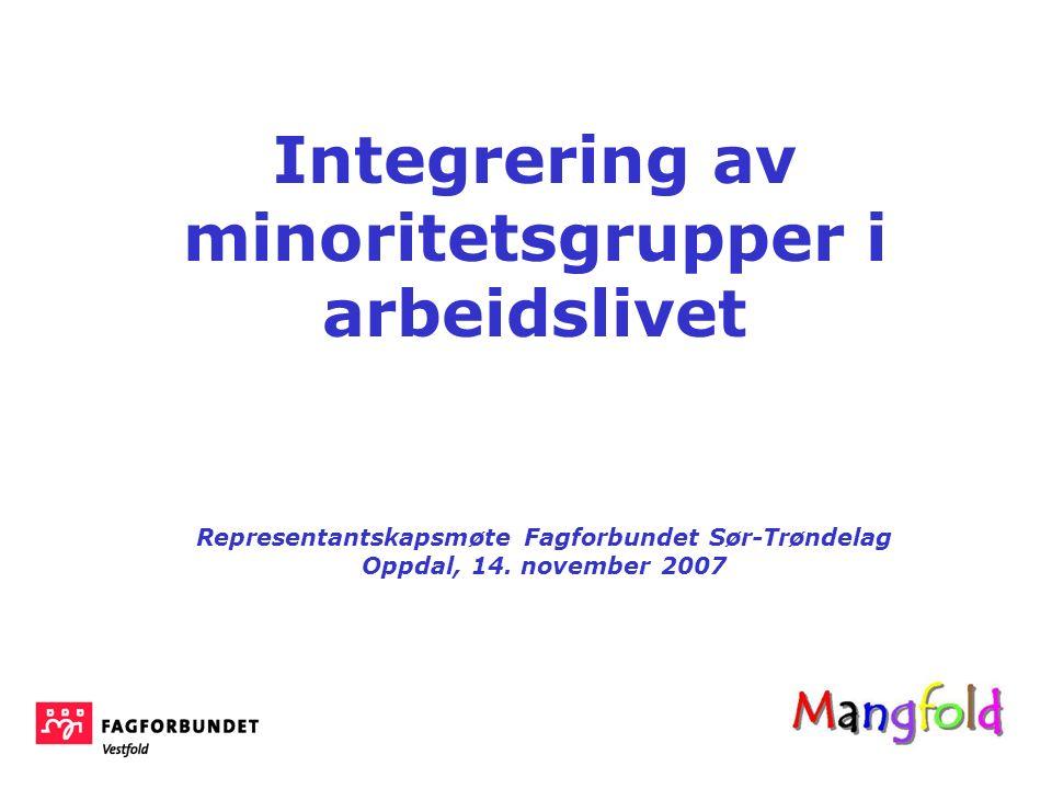 Integrering av minoritetsgrupper i arbeidslivet Representantskapsmøte Fagforbundet Sør-Trøndelag Oppdal, 14. november 2007