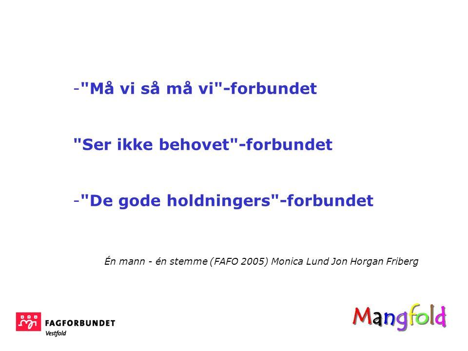 - Må vi så må vi -forbundet Ser ikke behovet -forbundet - De gode holdningers -forbundet Én mann - én stemme (FAFO 2005) Monica Lund Jon Horgan Friberg