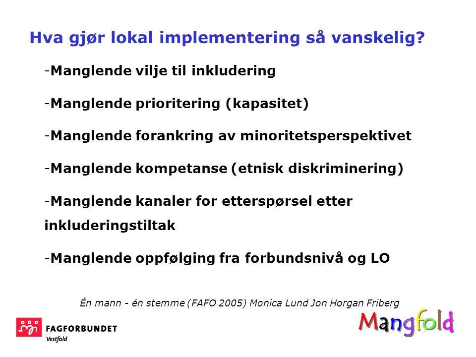 -Manglende vilje til inkludering -Manglende prioritering (kapasitet) -Manglende forankring av minoritetsperspektivet -Manglende kompetanse (etnisk dis