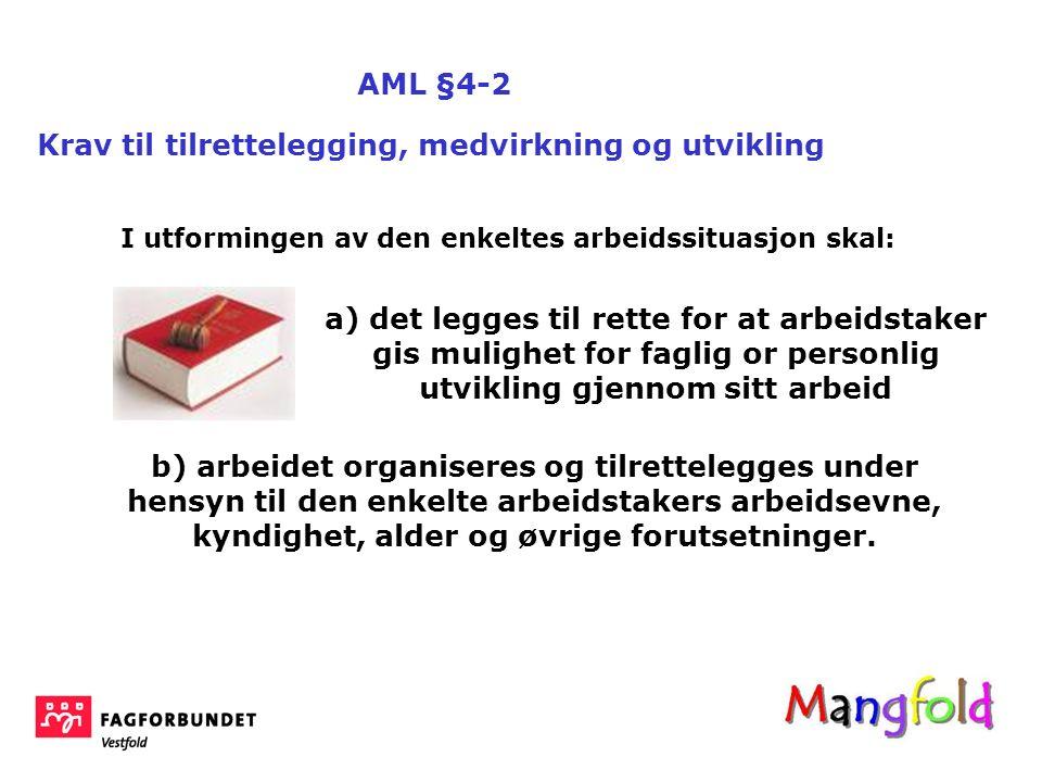 AML §4-2 Krav til tilrettelegging, medvirkning og utvikling a) det legges til rette for at arbeidstaker gis mulighet for faglig or personlig utvikling