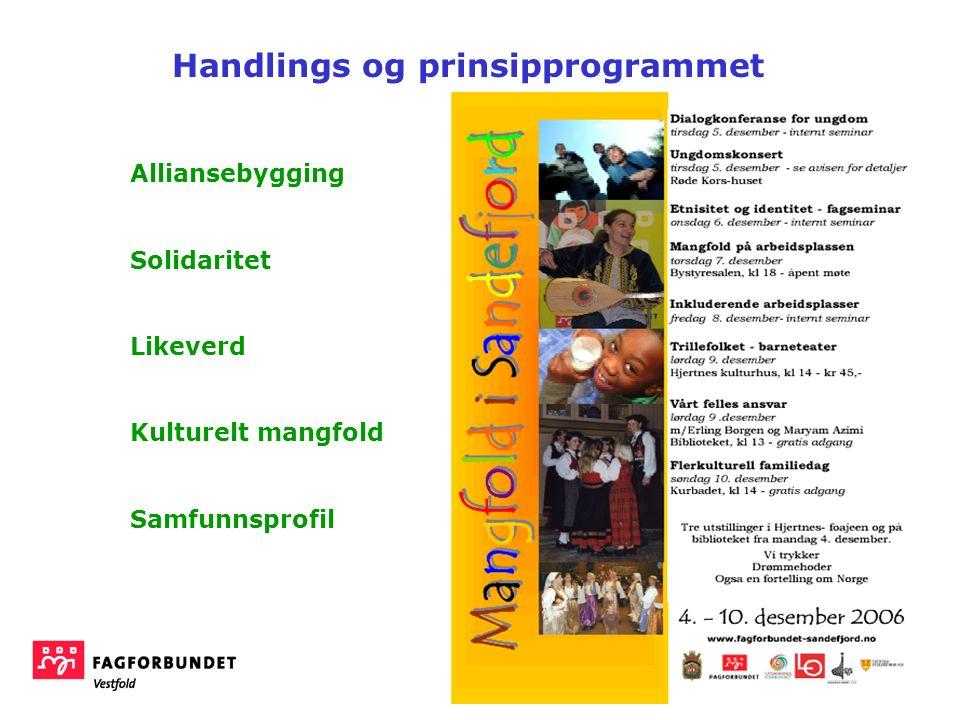 Alliansebygging Solidaritet Likeverd Kulturelt mangfold Samfunnsprofil Handlings og prinsipprogrammet