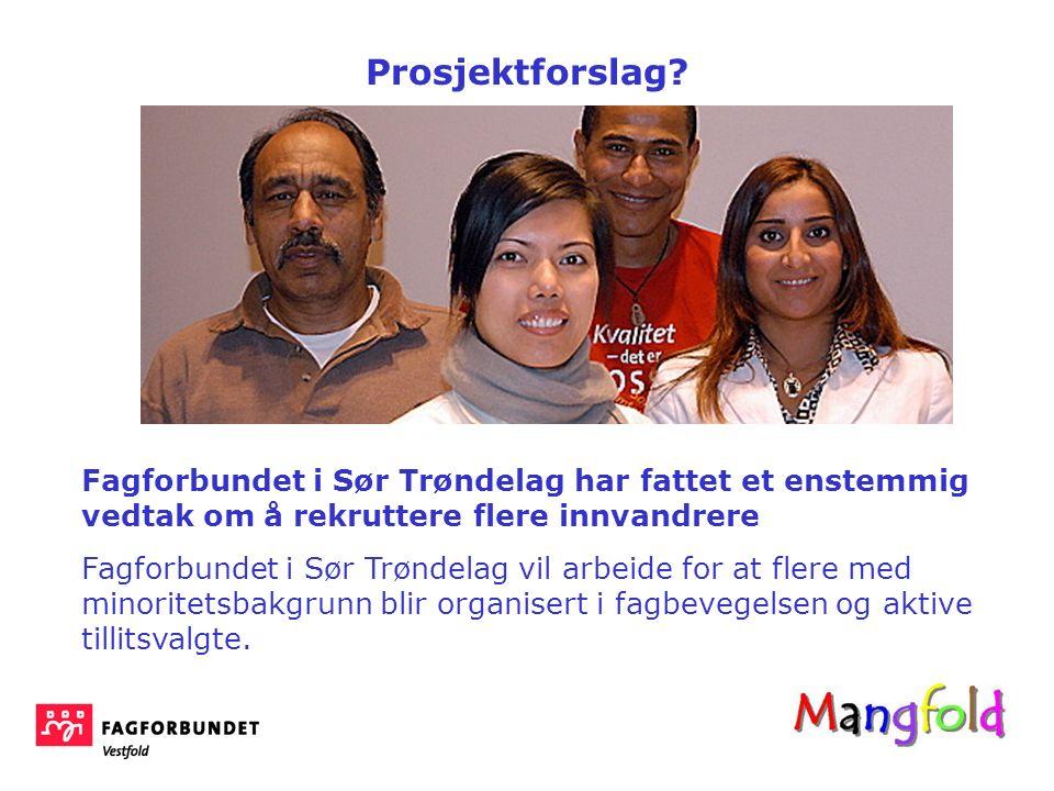 Prosjektforslag? Fagforbundet i Sør Trøndelag har fattet et enstemmig vedtak om å rekruttere flere innvandrere Fagforbundet i Sør Trøndelag vil arbeid