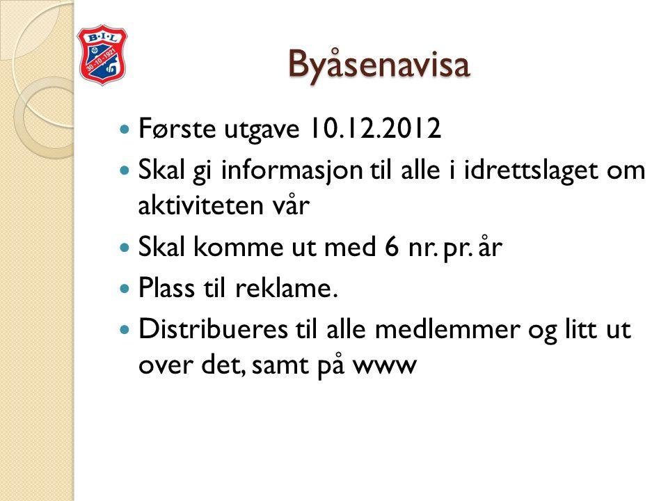 Byåsenavisa Første utgave 10.12.2012 Skal gi informasjon til alle i idrettslaget om aktiviteten vår Skal komme ut med 6 nr.