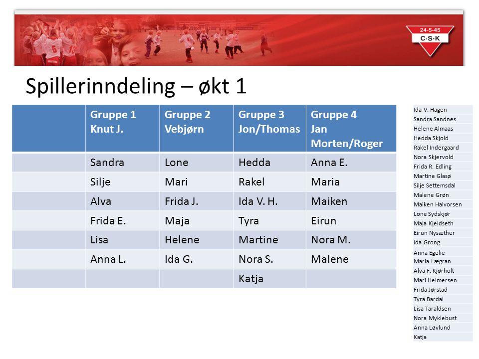 Spillerinndeling – økt 1 Gruppe 1 Knut J. Gruppe 2 Vebjørn Gruppe 3 Jon/Thomas Gruppe 4 Jan Morten/Roger SandraLoneHeddaAnna E. SiljeMariRakelMaria Al