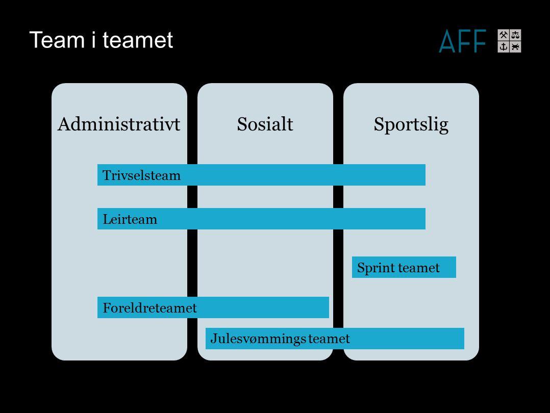 Team i teamet AdministrativtSosialtSportslig Trivselsteam Leirteam Sprint teamet Leirteam Foreldreteamet Julesvømmings teamet
