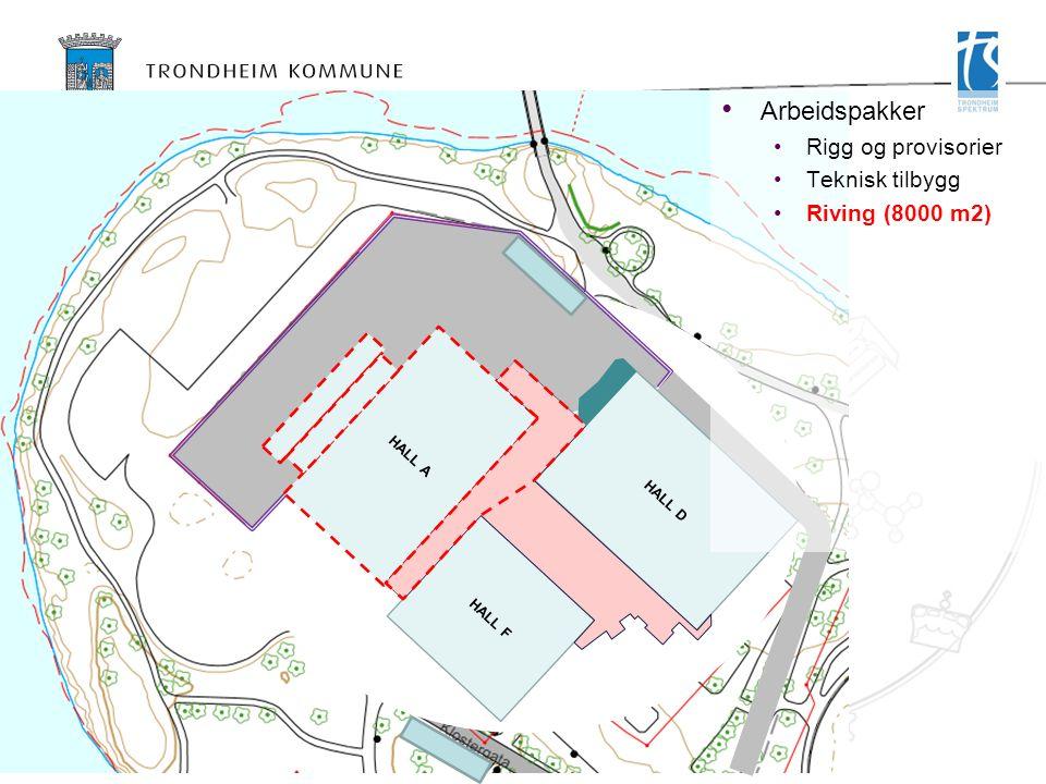 HALL D HALL F HALL A Arbeidspakker Rigg og provisorier Teknisk tilbygg Riving (8000 m2)