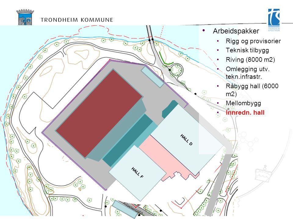 HALL D HALL F Arbeidspakker Rigg og provisorier Teknisk tilbygg Riving (8000 m2) Omlegging utv.