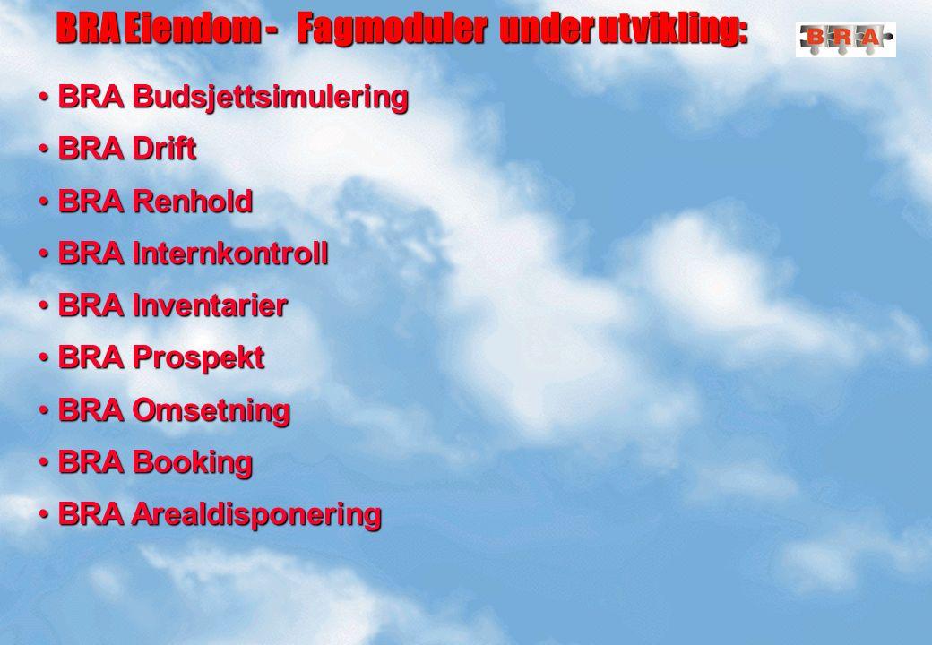 BRA Eiendom - Fagmoduler under utvikling: BRA Eiendom - Fagmoduler under utvikling: BRA Budsjettsimulering BRA Budsjettsimulering BRA Drift BRA Drift