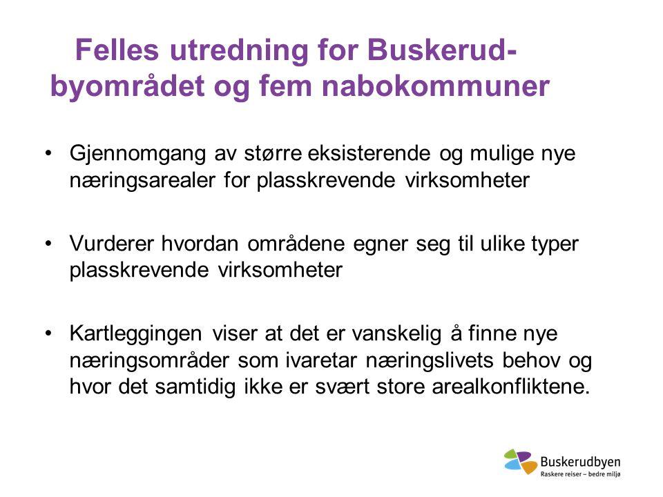 Felles utredning for Buskerud- byområdet og fem nabokommuner Gjennomgang av større eksisterende og mulige nye næringsarealer for plasskrevende virksom