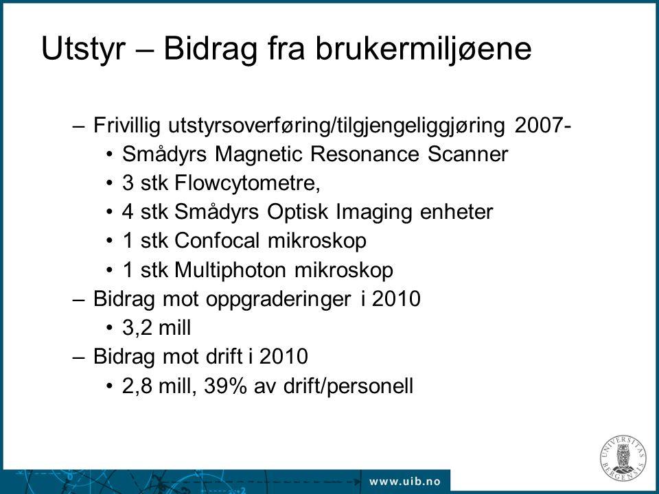 Utstyr – Bidrag fra brukermiljøene –Frivillig utstyrsoverføring/tilgjengeliggjøring 2007- Smådyrs Magnetic Resonance Scanner 3 stk Flowcytometre, 4 stk Smådyrs Optisk Imaging enheter 1 stk Confocal mikroskop 1 stk Multiphoton mikroskop –Bidrag mot oppgraderinger i 2010 3,2 mill –Bidrag mot drift i 2010 2,8 mill, 39% av drift/personell