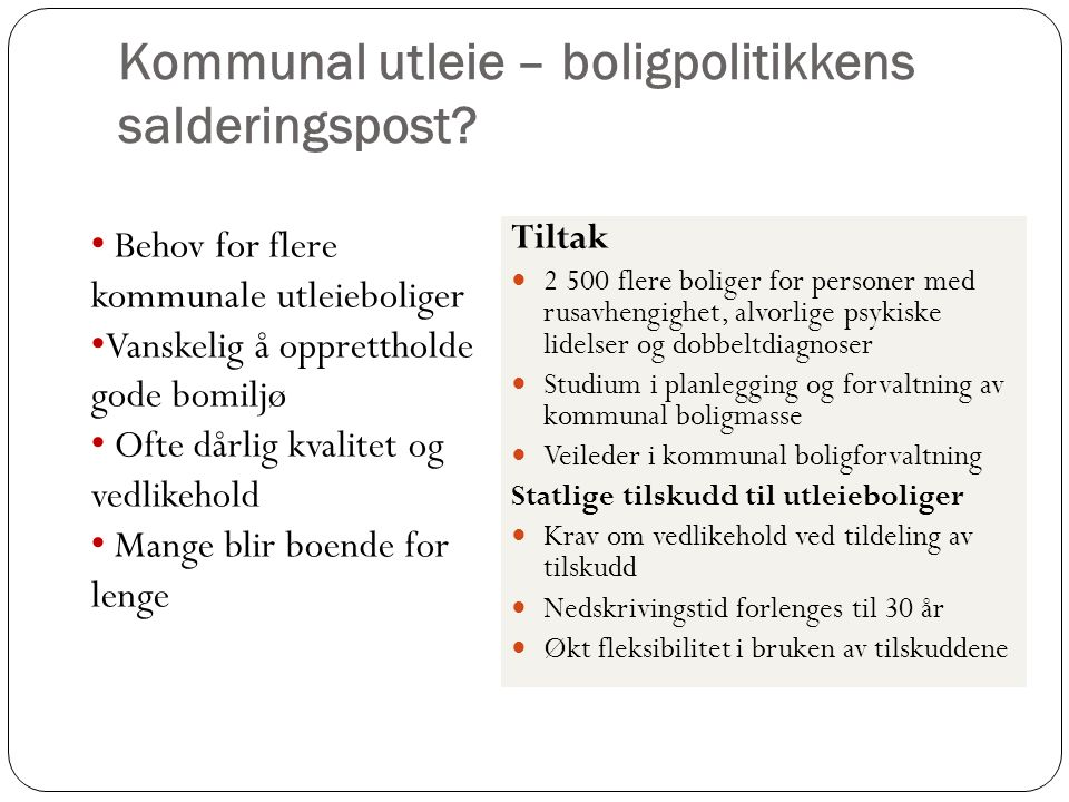 Kommunal utleie – boligpolitikkens salderingspost.
