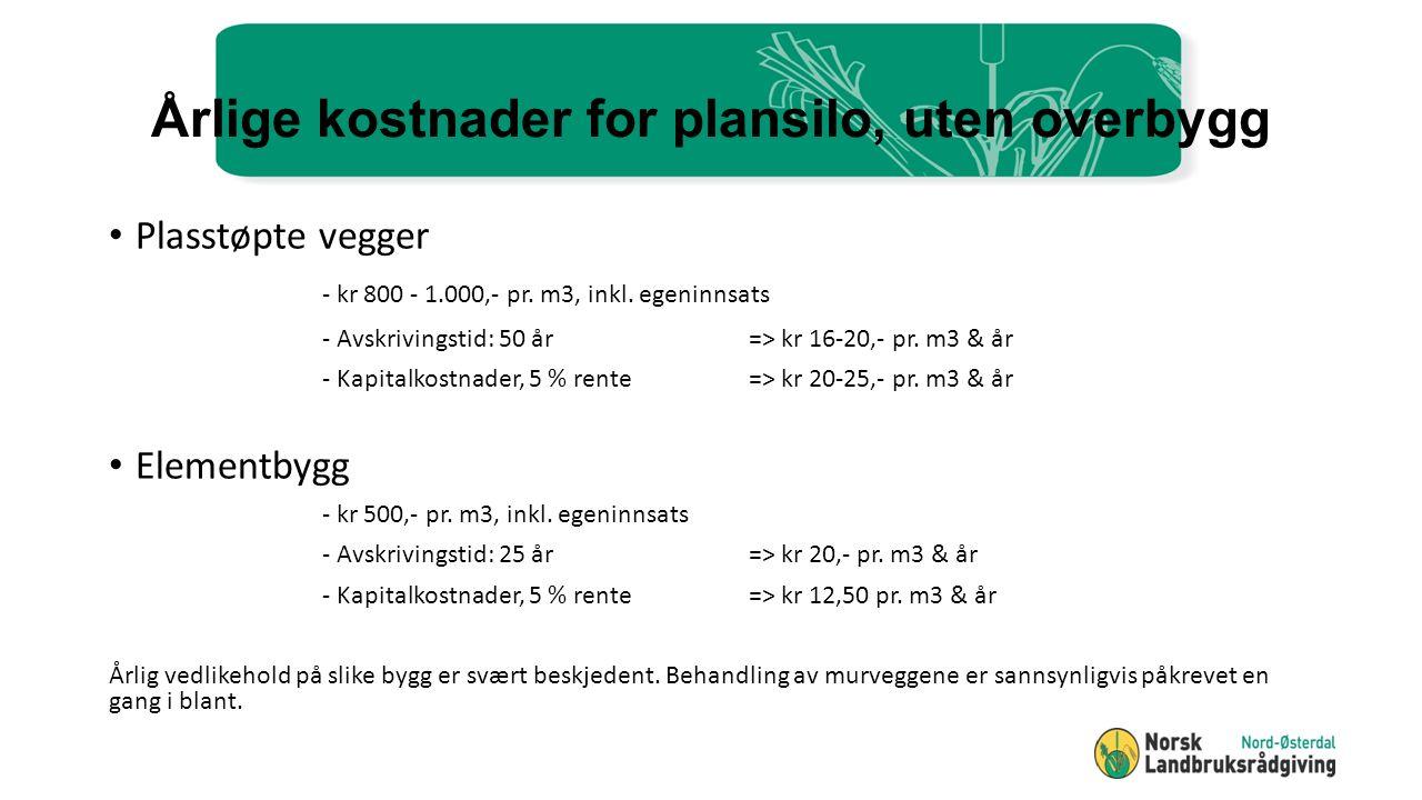 Årlige kostnader for plansilo, uten overbygg Plasstøpte vegger - kr 800 - 1.000,- pr.