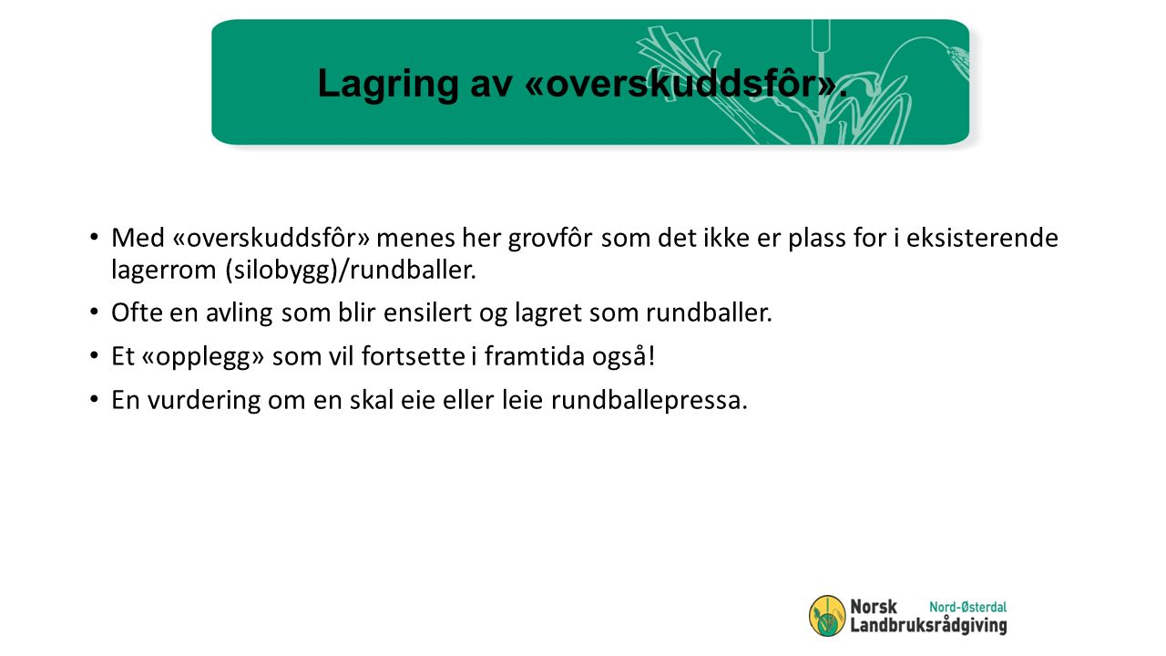 Plansilo kontra rundballer Resultat: Avlinga gir 1.200 rundballer Avlinga vil kreve en silokapasitet på 1.000 m3 (700 tonn silo).