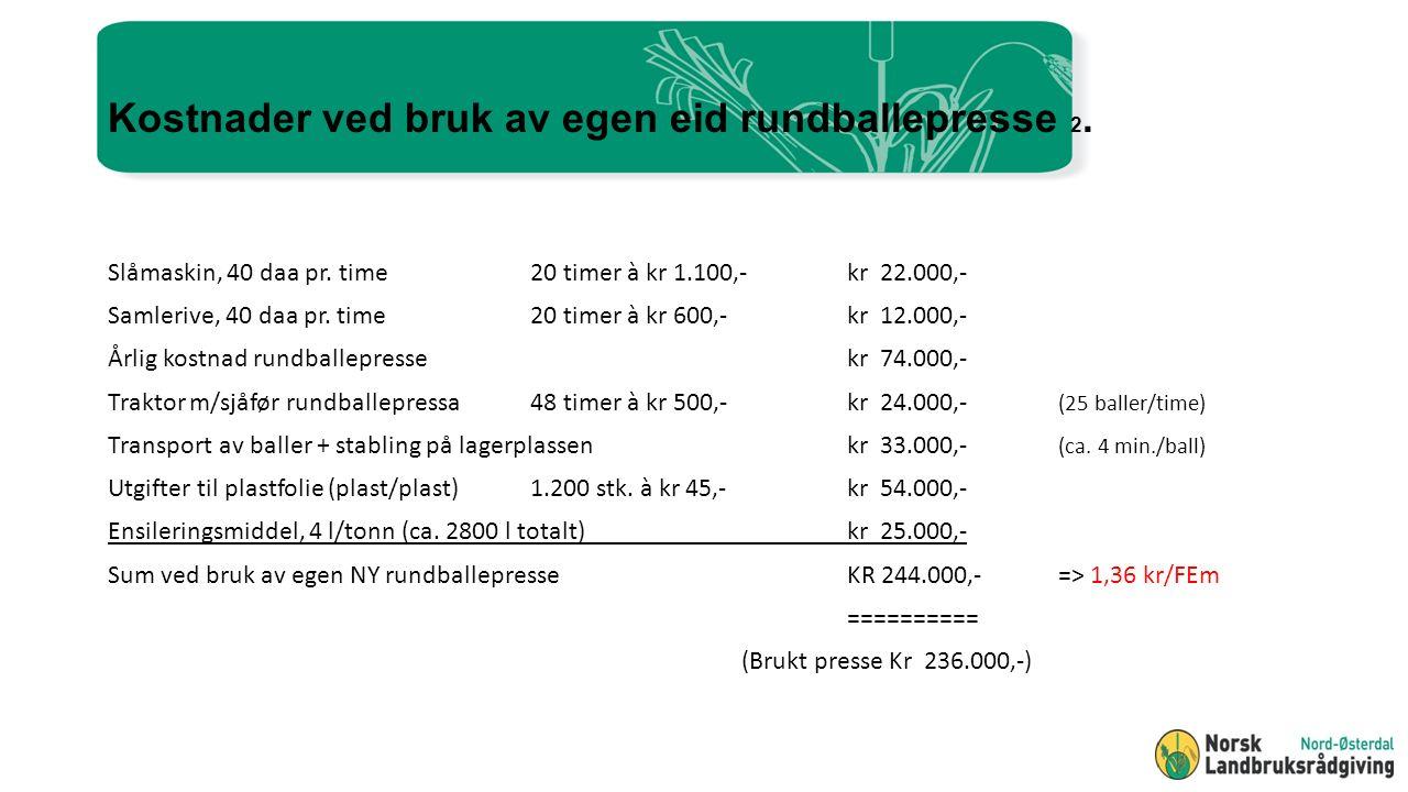 Kostnader ved bruk av egen eid rundballepresse 2. Slåmaskin, 40 daa pr.