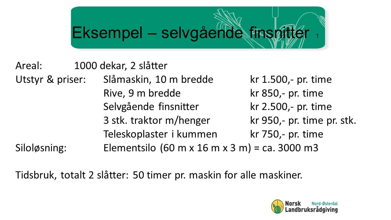 Eksempel – selvgående finsnitter 1 Areal:1000 dekar, 2 slåtter Utstyr & priser:Slåmaskin, 10 m breddekr 1.500,- pr.