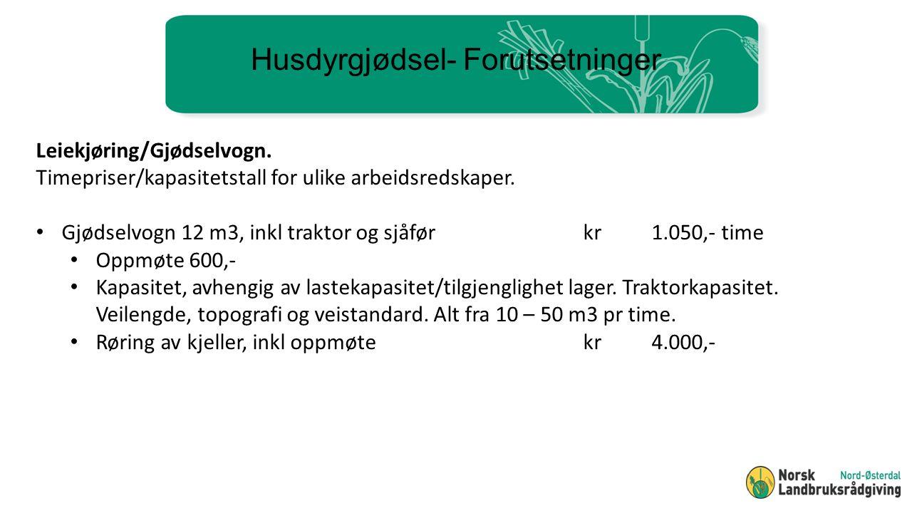Husdyrgjødsel- Forutsetninger Leiekjøring/Gjødselvogn.