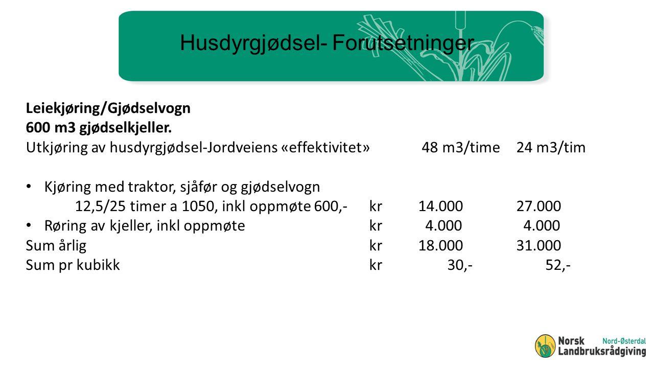 Husdyrgjødsel- Forutsetninger Leiekjøring/Gjødselvogn 600 m3 gjødselkjeller.