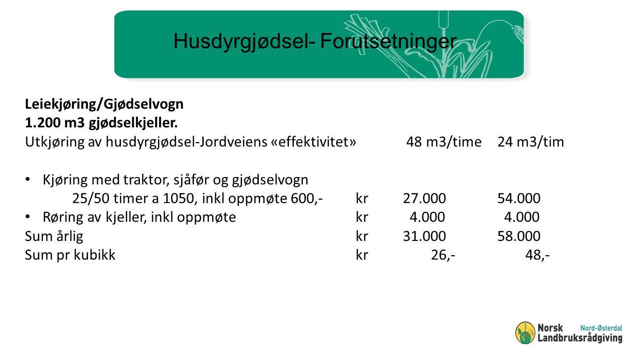 Husdyrgjødsel- Forutsetninger Leiekjøring/Gjødselvogn 1.200 m3 gjødselkjeller.