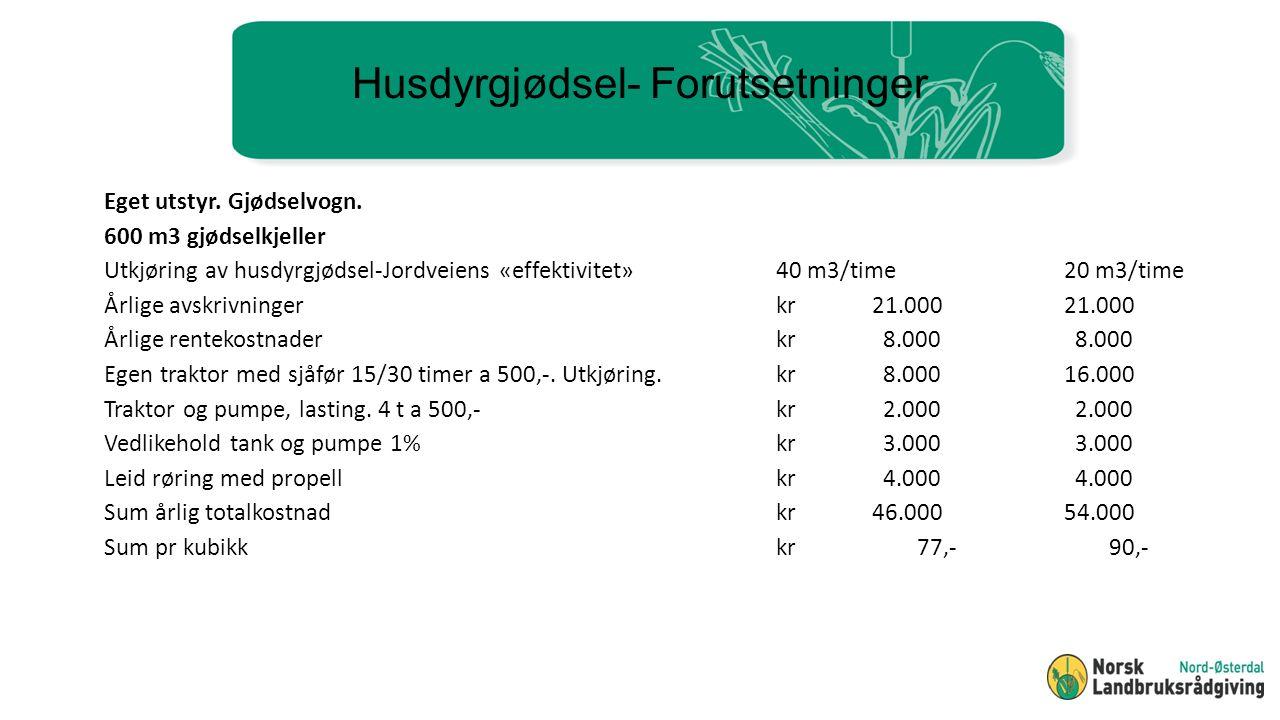 Husdyrgjødsel- Forutsetninger Eget utstyr. Gjødselvogn.