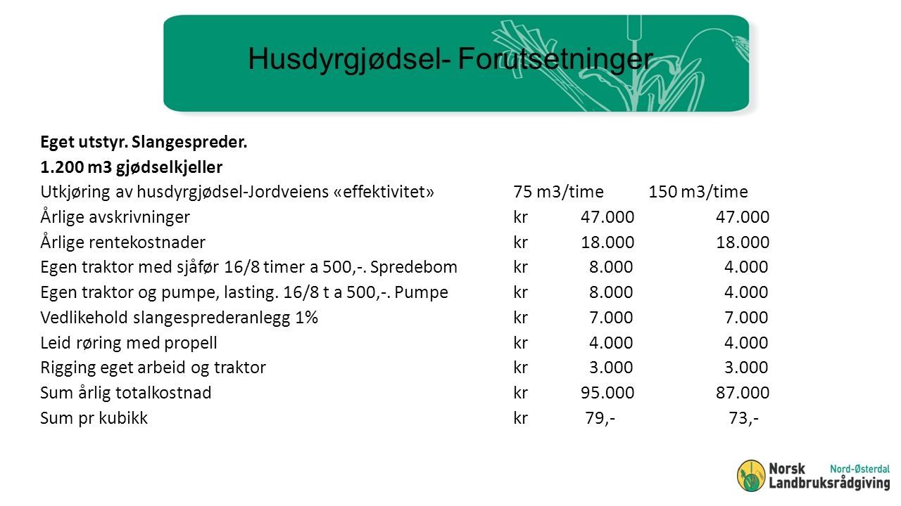 Husdyrgjødsel- Forutsetninger Eget utstyr. Slangespreder.
