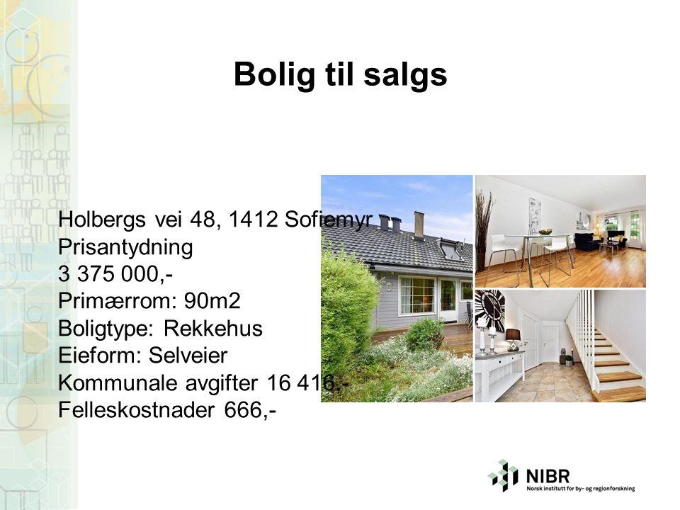 Bolig til salgs Holbergs vei 48, 1412 Sofiemyr Prisantydning 3 375 000,- Primærrom: 90m2 Boligtype: Rekkehus Eieform: Selveier Kommunale avgifter 16 4