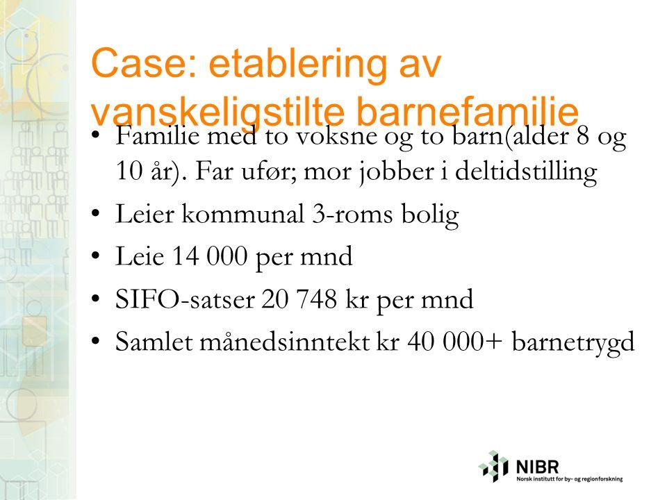 Case: etablering av vanskeligstilte barnefamilie Familie med to voksne og to barn(alder 8 og 10 år). Far ufør; mor jobber i deltidstilling Leier kommu