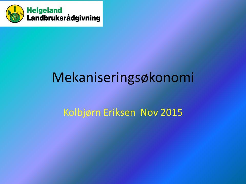 Kostnadsbildet generelt – momenter fra NILF Notat 2013 Stor variasjon i lønnsomhet Mekaniseringskostnader utgjør en stor andel av de samlede kostnader Mekaniseringskostnader varierer sterkt, mlm 0,46 -6,70 kr/FEm på deltakende melkeproduksjonsbruk «Ingen»/ helt marginal forskjell i mekaniseringskostnader mellom store og små bruk Gjennomsnittlig mekaniseringskostnad på 2,66 kr/FEm i Nord Norge, mot 2,05 kr/FEm i resten av Norge Mekaniseringskostnadene har økt med 42 % på 5 år i Norge, og 36% i Nord-Norge Kalkulert midlere selvkostnad i grovforproduksjon overstiger kraftforkostnaden med ca 90 øre pr Fem, 4,31 kr/FEm mot 3,43 kr/FEm