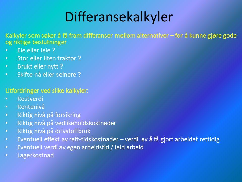 Differansekalkyler Kalkyler som søker å få fram differanser mellom alternativer – for å kunne gjøre gode og riktige beslutninger Eie eller leie .