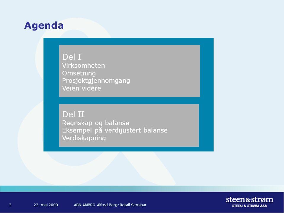 ABN AMBRO Alfred Berg: Retail Seminar2 Agenda Del II Regnskap og balanse Eksempel på verdijustert balanse Verdiskapning Del I Virksomheten Omsetning Prosjektgjennomgang Veien videre
