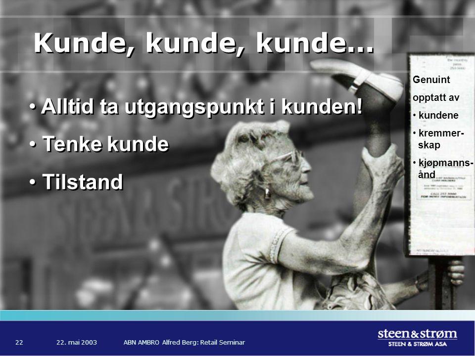 22. mai 2003ABN AMBRO Alfred Berg: Retail Seminar22 Kunde, kunde, kunde...