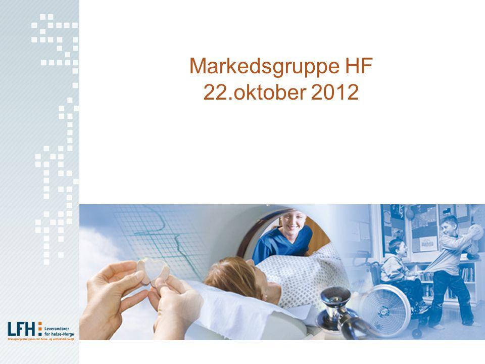 Agenda Forslag til agenda for LFH Markedsgruppe HF 1.Referat fra møte i LFH MG HF 17.august 2012 2.LFH organisering og strategi (TDH) a)Organisering b)Strategi LFH og strategiprosess høst 2012 3.Ny visuell profil/identitet for LFH (HMK) 4.Status HF prosjekter (ALLE) a)Konsignasjonslager b)Vareprøver og utprøving av kapitalvarer c)Alternativ finansiering av MTU 5.Revisjon Samarbeidsavtale med RHF (BMR + HMK) (se spesielt § 1.3, § 3.6 og 3.7 i vedlagte tekstforslag, med utgangspunkt i LMI sin avtale) 6.Eventuelt a)HSØ innkjøpsseminar 4.desember, AHUS b)Prosjekter Nordic Innovation c)NNI/Hinas d)LFH publikasjoner