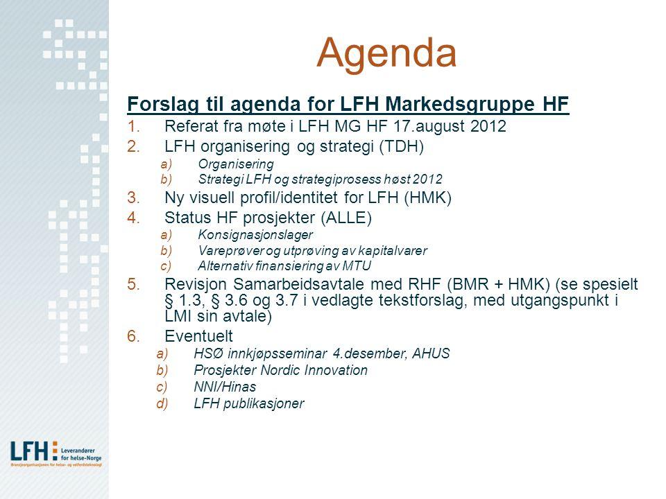 Agenda Forslag til agenda for LFH Markedsgruppe HF 1.Referat fra møte i LFH MG HF 17.august 2012 2.LFH organisering og strategi (TDH) a)Organisering b
