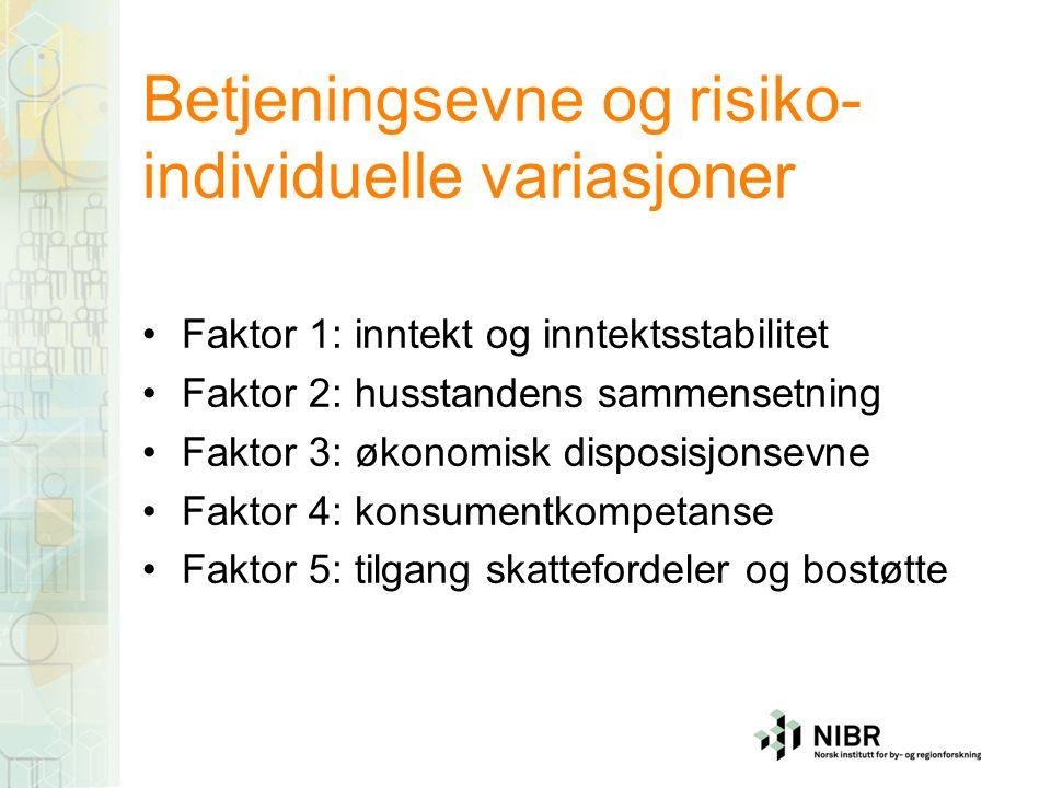 Betjeningsevne og risiko- individuelle variasjoner Faktor 1: inntekt og inntektsstabilitet Faktor 2: husstandens sammensetning Faktor 3: økonomisk disposisjonsevne Faktor 4: konsumentkompetanse Faktor 5: tilgang skattefordeler og bostøtte