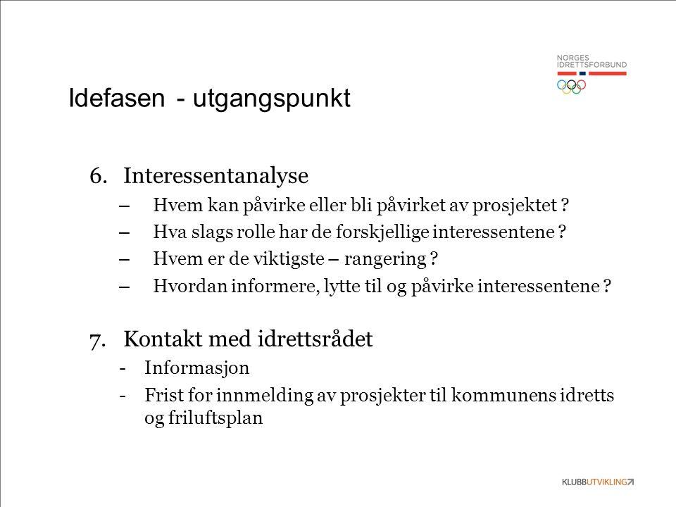 Idefasen - utgangspunkt 6.Interessentanalyse – Hvem kan påvirke eller bli påvirket av prosjektet ? – Hva slags rolle har de forskjellige interessenten