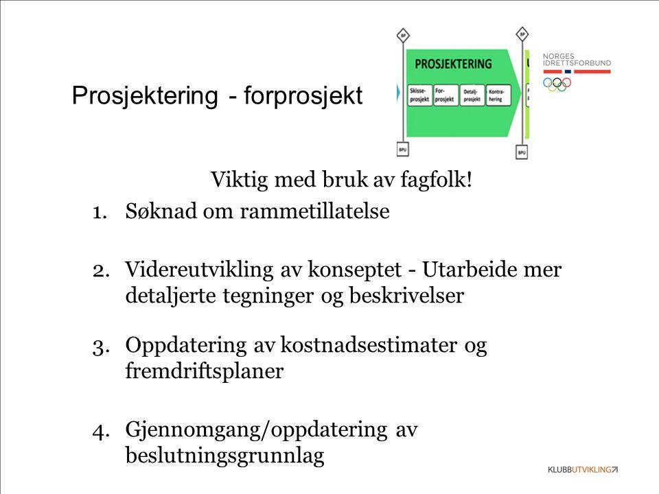 Prosjektering - forprosjekt Viktig med bruk av fagfolk! 1.Søknad om rammetillatelse 2.Videreutvikling av konseptet - Utarbeide mer detaljerte tegninge